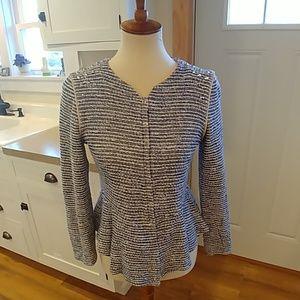 ZARA TRAFALUC Studded Tweed Stripe Peplum Blazer
